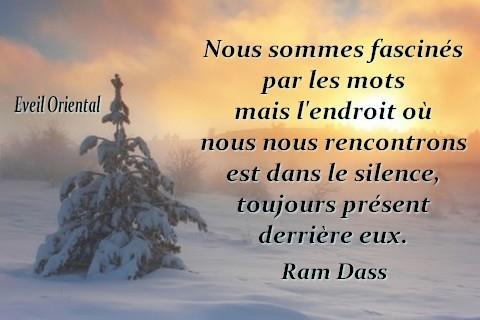 Nous sommes fascinés par les mots, mais l'endroit où nous nous rencontrons est le silence, toujours présent derrière eux - Ram Dass -