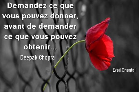Demandez ce que vous pouvez donner avant de demander ce que vous pouvez obtenir - Deepak Chopra