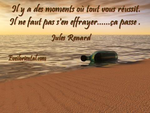 Il y a des moments où tout vous réussit ; il ne faut pas s'en effrayer, ça passe - Jules Renard -